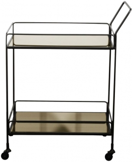 Dixon Bronze Mirror 2 Shelves Rectangular Bar cart