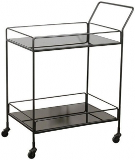 Dixon Charcoal Mirror 2 Shelves Rectangular Bar cart