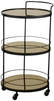 Lucy Bronze Mirror 3 Shelves Round Bar cart