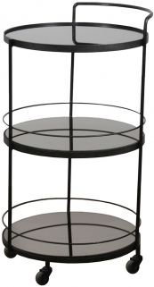 Lucy Charcoal Mirror 3 Shelves Round Bar cart