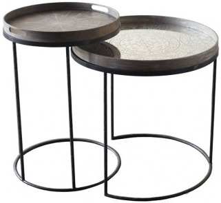 High Round Tray Table Set