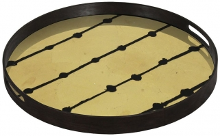 Brown Dots Small Round Glass Tray