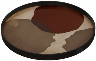 Overlapping Dots Large Round Glass Tray
