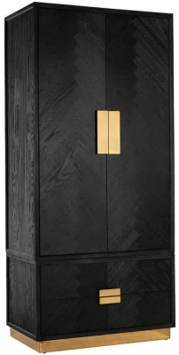 Blackbone Black Oak and Gold 2 Door 2 Drawer Wardrobe