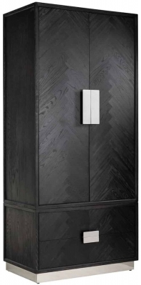 Blackbone Black Oak and Silver 2 Door 2 Drawer Wardrobe