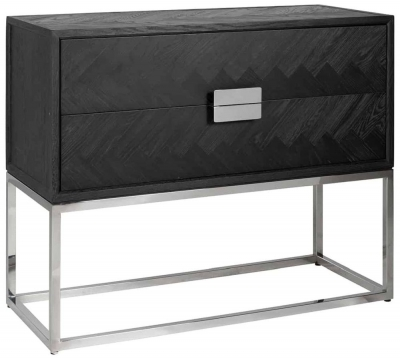 Blackbone Black Oak and Silver 2 Drawer Chest