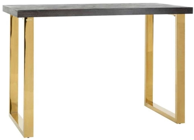 Blackbone Black Oak and Gold Bar Table