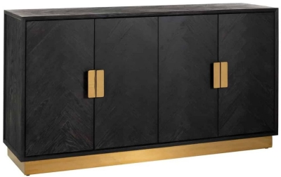 Blackbone Black Oak and Gold 4 Door Sideboard