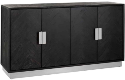 Blackbone Black Oak and Silver 4 Door Sideboard