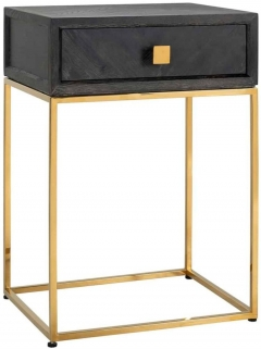 Blackbone Black Oak and Gold 1 Drawer Bedside Table
