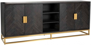 Blackbone Black Oak and Gold 4 Door Wide Sideboard