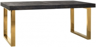 Blackbone Black Oak and Gold Extending Dining Table - 195cm-265cm