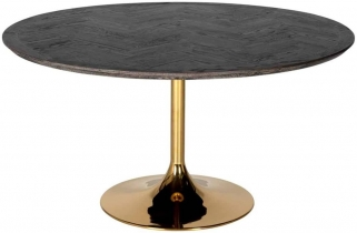 Blackbone Black Oak and Gold Round Dining Table - 140cm