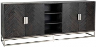 Blackbone Black Oak and Silver 4 Door Wide Sideboard