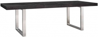 Blackbone Black Oak and Silver Extending Dining Table - 195cm-265cm