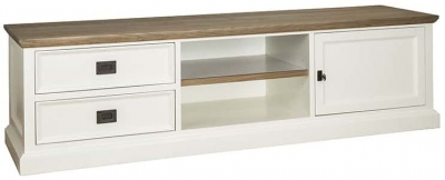 Cardiff Oak and Snow Painted 1 Door 2 Drawer TV Unit