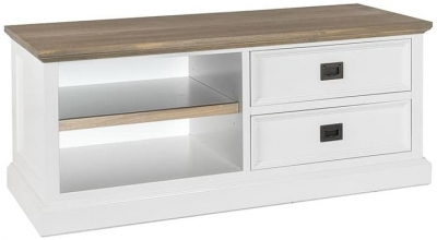 Cardiff Oak and Snow Painted 2 Drawer TV Unit