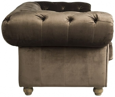 Chessy 2.5 Seater Fabric Sofa with Silver and Bronze Nails