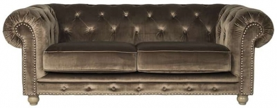 Chessy 3 Seater Fabric Sofa with Silver and Bronze Nails