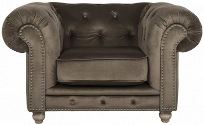 Chessy Fabric Armchair with Silver and Bronze Nails