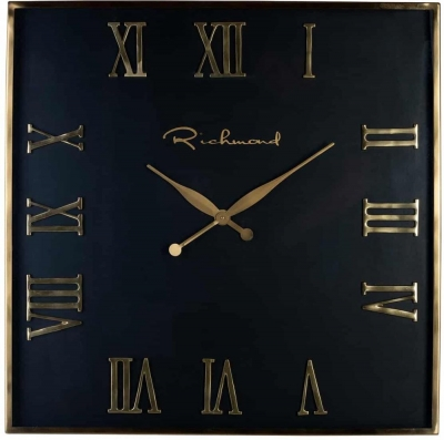 Derial Black and Gold Square Clock