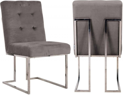 Madison Stone Velvet and Silver Dining Chair (Pair)