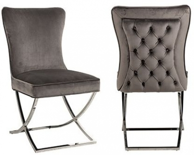 Chelsea Stone Velvet and Silver Dining Chair (Pair)