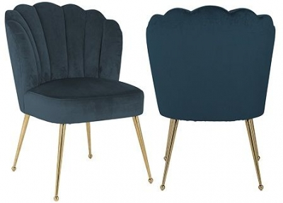 Pippa Petrol Velvet and Gold Dining Chair (Pair)