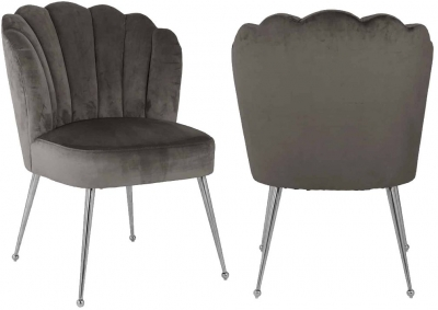 Pippa Stone Velvet and Silver Dining Chair (Pair)