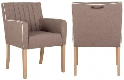 Julietta Carver Piping Fabric Dining Chair (Pair)