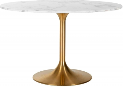 Piazza Round Marble Dining Table with Chrome Base - 120cm