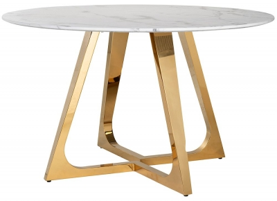 Dynasty White Marble and Gold Round Dining Table - 130cm