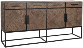 Herringbone Old Oak 4 Door 4 Drawer Sideboard