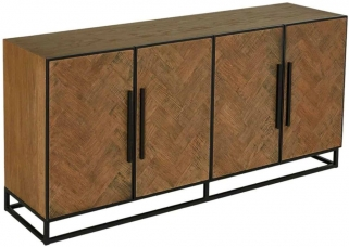 Herringbone Old Oak 4 Door Sideboard