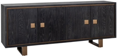 Hunter Oak and Gold 4 Door Sideboard
