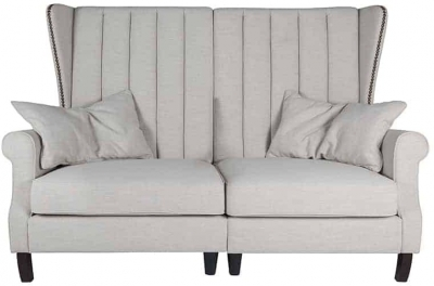 Jules 2 Seater Fabric Sofa with Silver and Bronze Nails - Fire Retardant