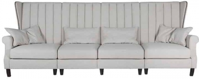 Jules 4 Seater Fabric Sofa with Silver and Bronze Nails - Fire Retardant