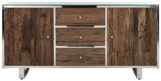 Kensington Sleeper Wood and Silver 2 Door 3 Drawer Sideboard with Glass Top