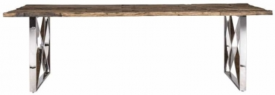 Kensington Sleeper Wood and Silver Dining Table - 180cm