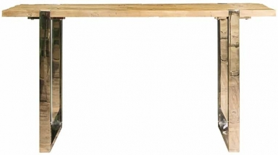Maddox Elm Wood and Stainless Steel Console Table