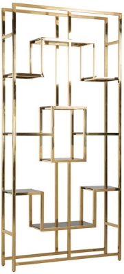 Magnus Black Glass and Gold Shelving Unit