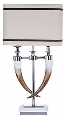 Ace Glass Table Lamp with Natural Shade