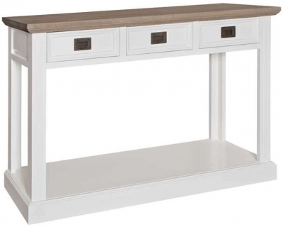 Westwood Oak and Painted 3 Drawer Console Table