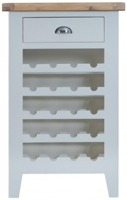 Hampstead Oak and Grey Painted 1 Drawer Wine Cabinet
