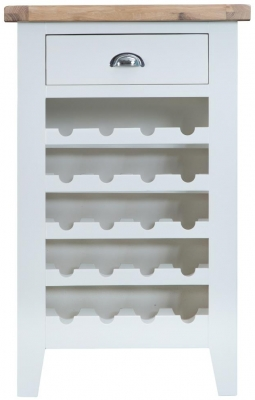 Hampstead Oak and White Painted 1 Drawer Wine Cabinet