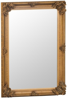 Gold Wooden Frame Rectangular Beveled Mirror - 80cm x 115cm