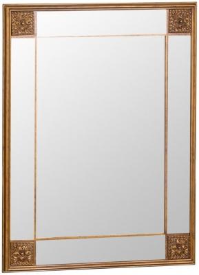 Gold Wooden Frame Rectangular Beveled Mirror - 115cm x 145cm
