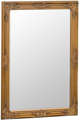 Gold Wooden Frame Rectangular Beveled Mirror - 75cm x 105cm