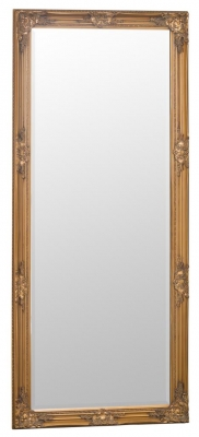 Gold Wooden Frame Rectangular Beveled Mirror - 75cm x 165cm