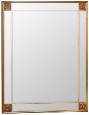 Gold Wooden Frame Rectangular Beveled Mirror - 80cm x 105cm